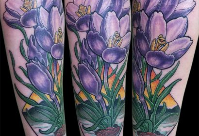 Illustrative Crocus Flowers tattoo by Jake B