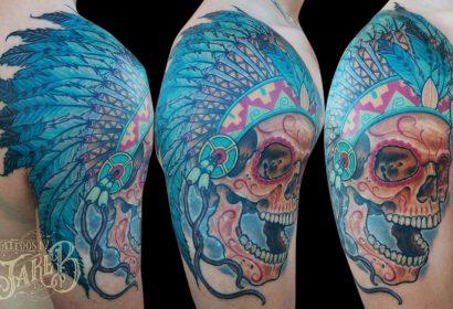 skull chief tattoo by Jake B