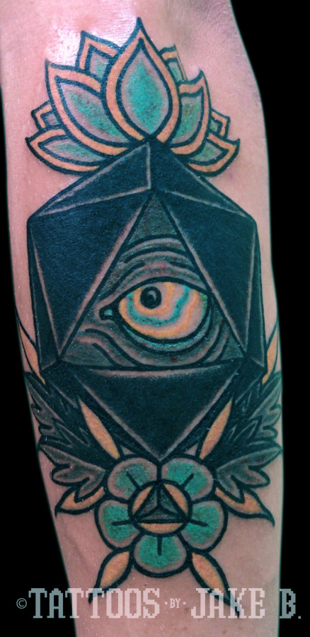 d20 eye and rose tattoo