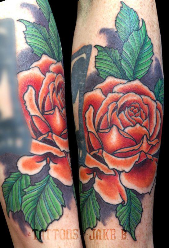 orange rose tattoo