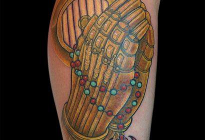 Praying Hands C3PO tattoo by Jake B