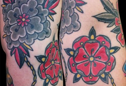 Traditional flowers tattoo by Jake B