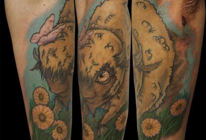 New school buffalo tattoo by Jake B