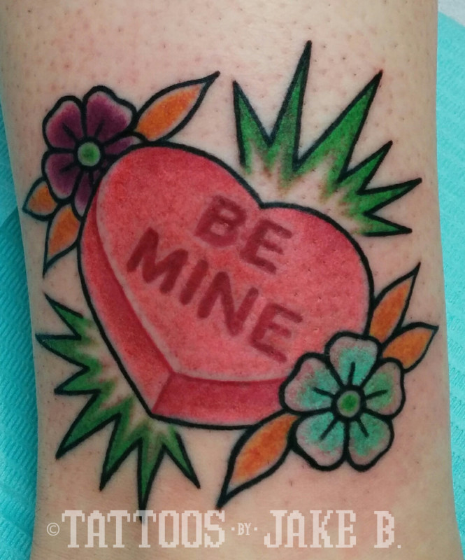 Valentine's Day Candy Heart Tattoo - Tattoos by Jake B