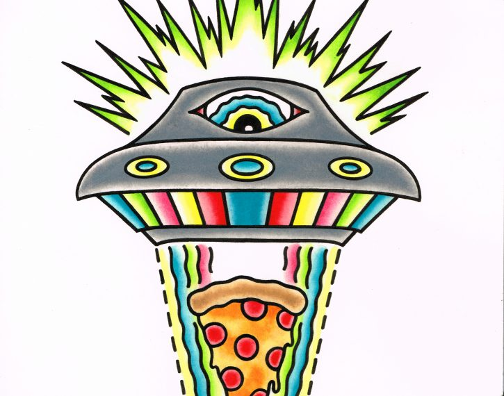 ufo pizza print