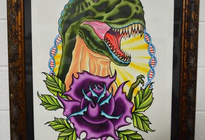 T-Rex and flower watercolor painting