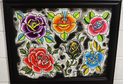 traditional flowers tattoo flash