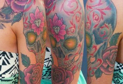 Sugar Skull Roses tattoo by Jake B