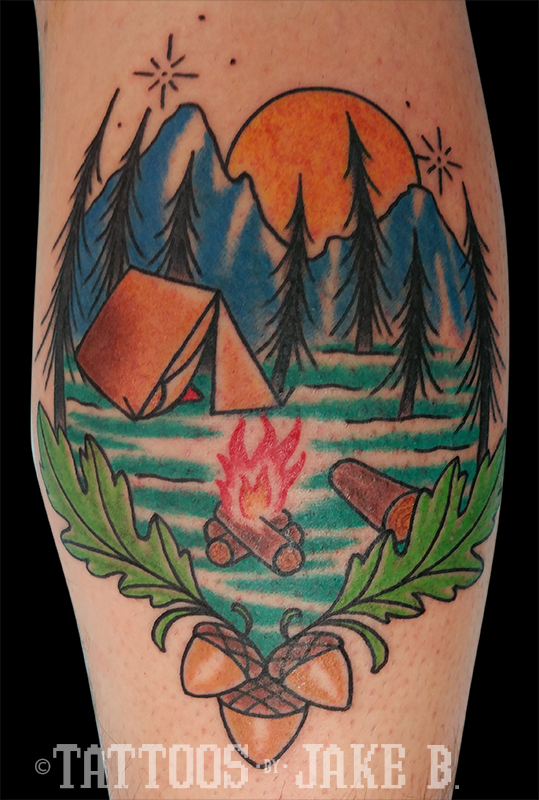 Traditional style campfire tattoo by Jake B