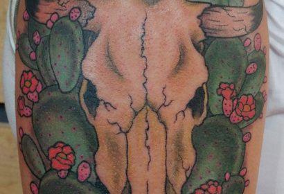bull skull cactus southwest tattoo by Jake B