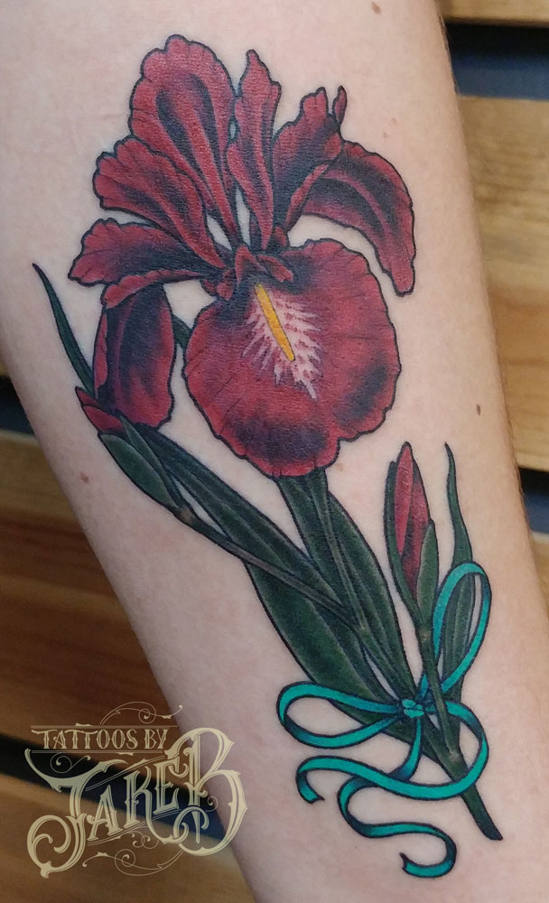 red iris flower tattoo tattoos by jake b. Black Bedroom Furniture Sets. Home Design Ideas