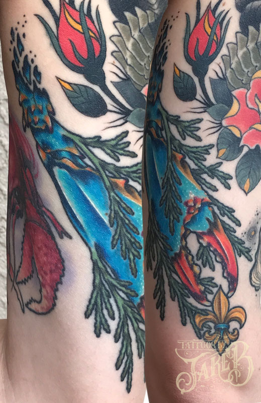 Illustrative style blue crab claw tattoo by Jake B