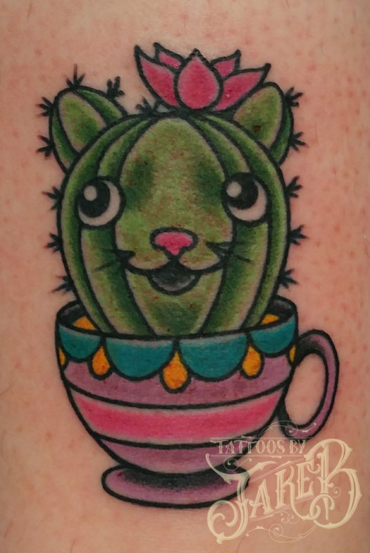 traditional style cactus cat tattoo