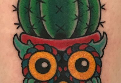 Traditional style cactus owl tattoo by Jake B