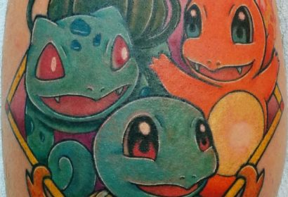 bulbasaur charmander squirttle pokemon starters tattoo by Jake B
