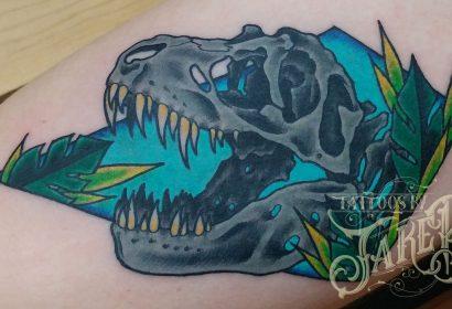 traditional dinosaur t-rex skull tattoo