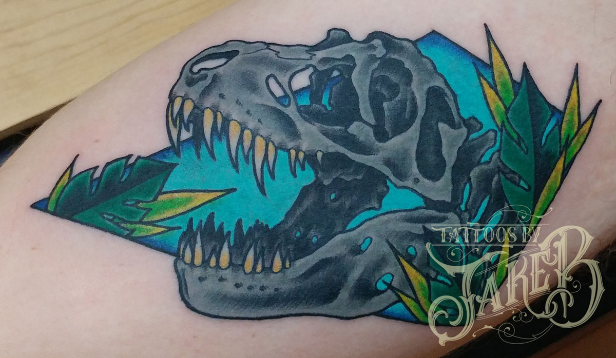 traditional dinosaur t-rex skull tattoo