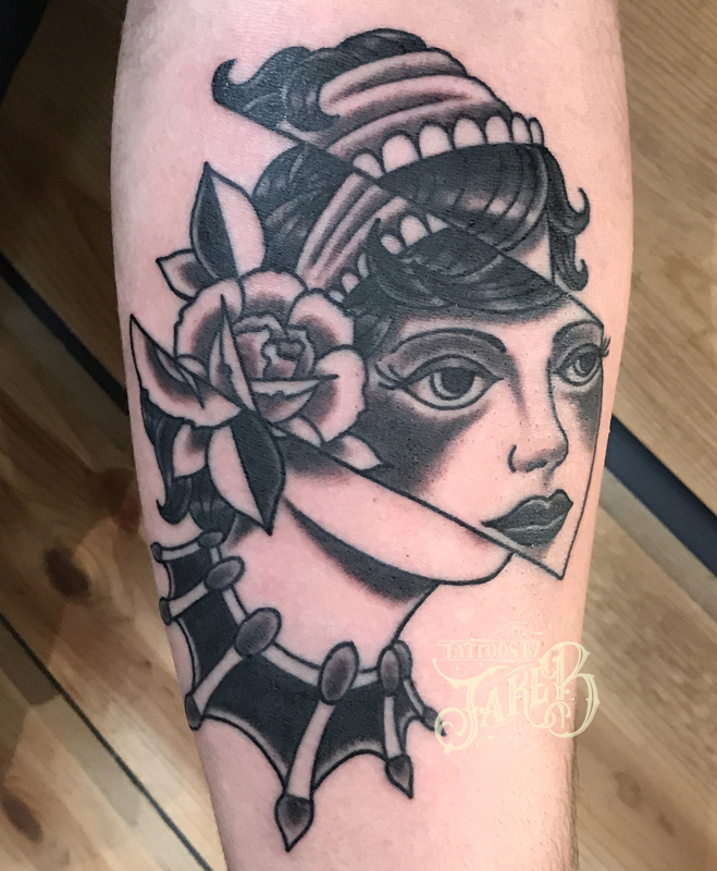 black and grey glitch lady face tattoo by jake b