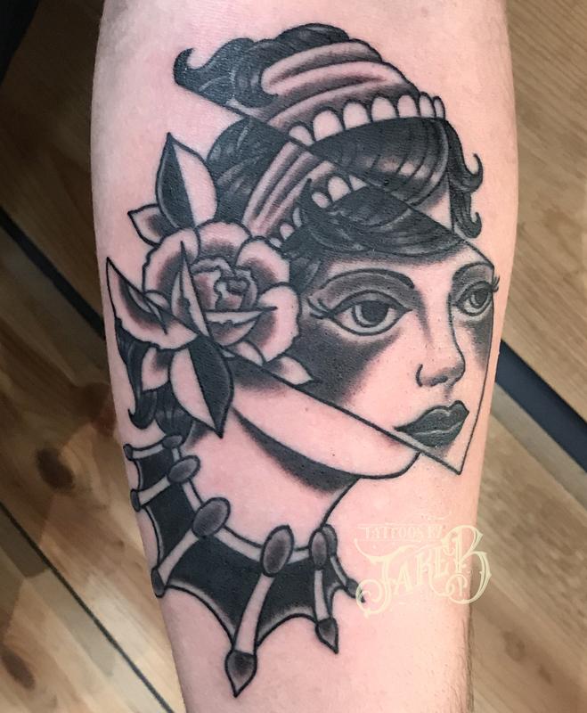 black and grey glitch lady face tattoo by jake b