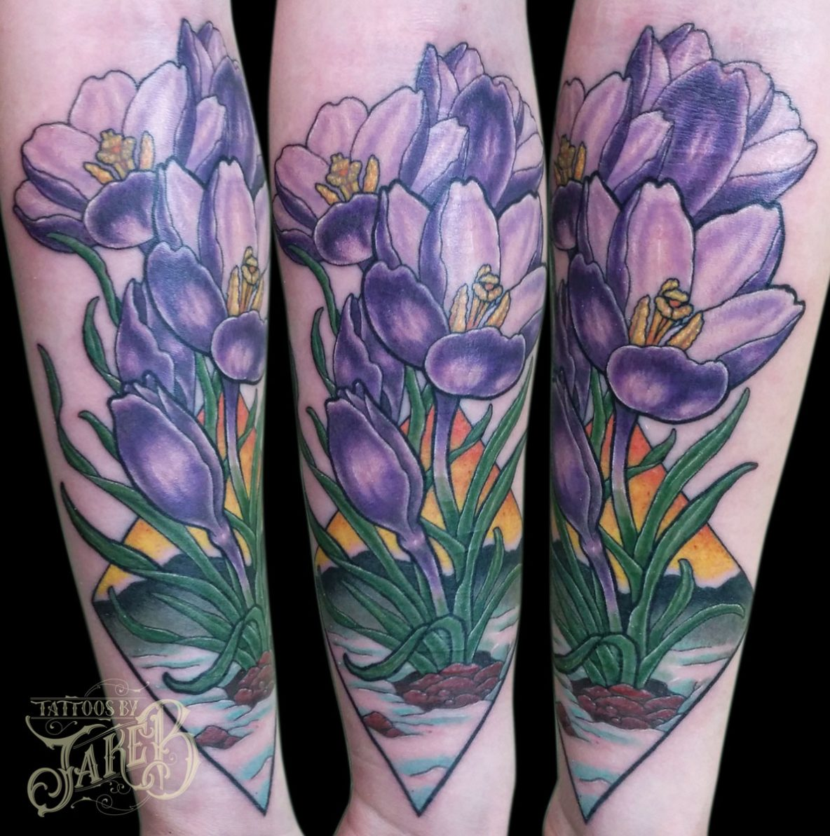 crocus flower tattoo