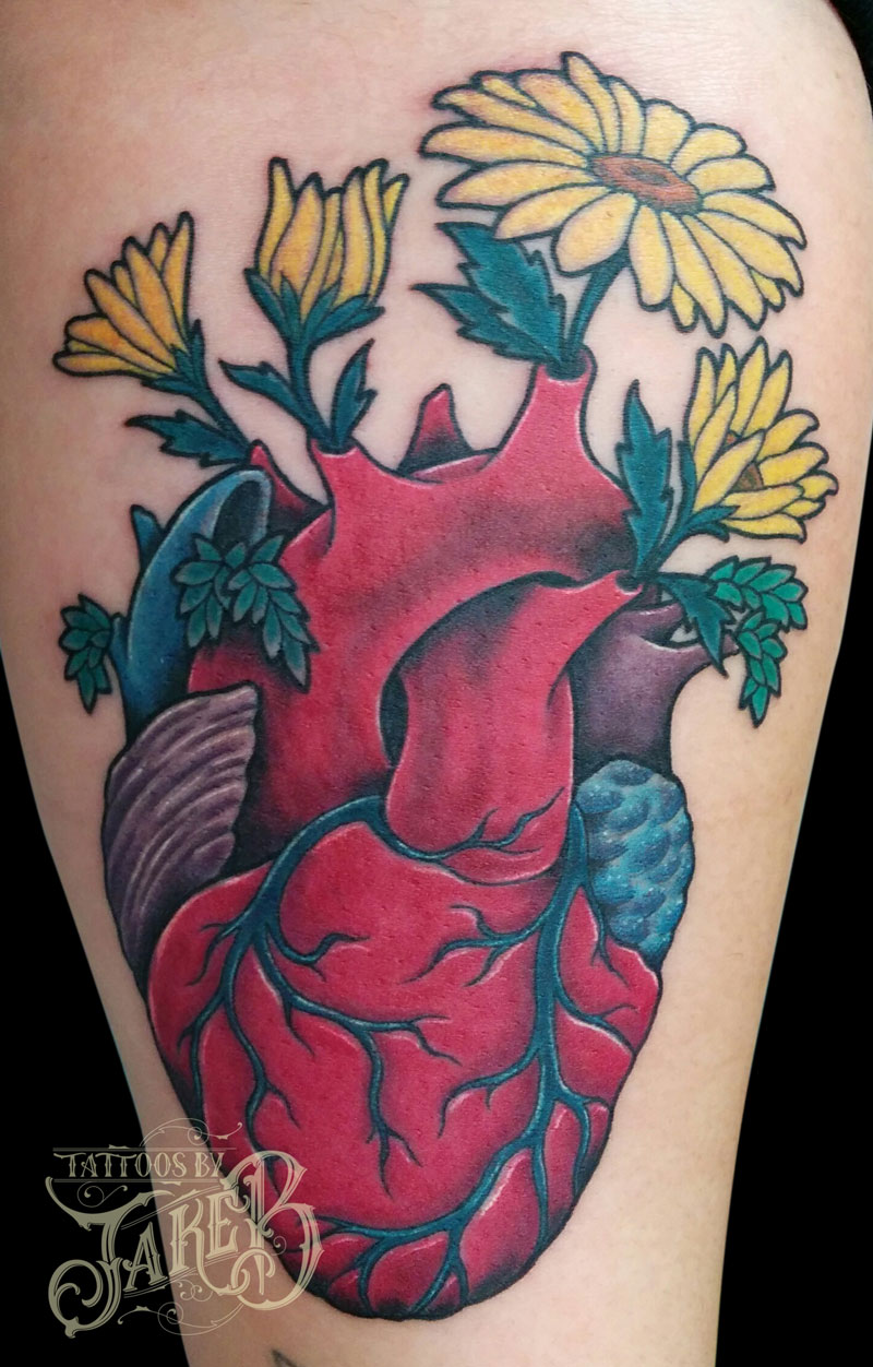 anatomical heart flowers tattoo