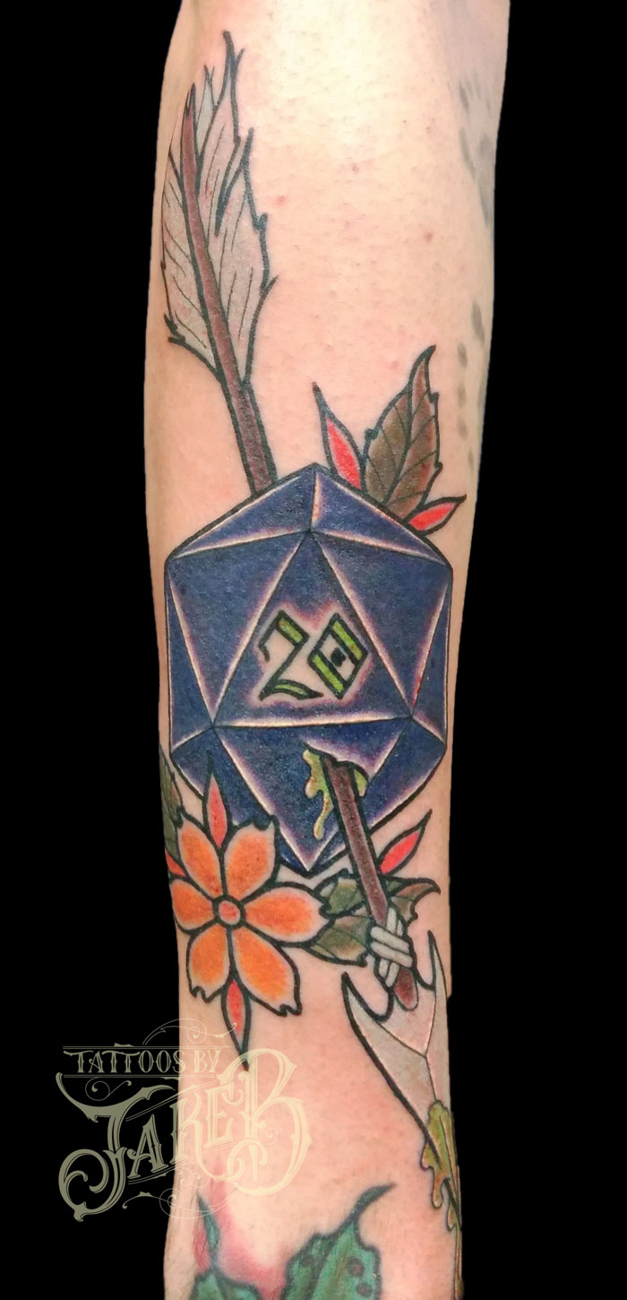 dungeons & dragons d20 arrow tattoo by Jake B