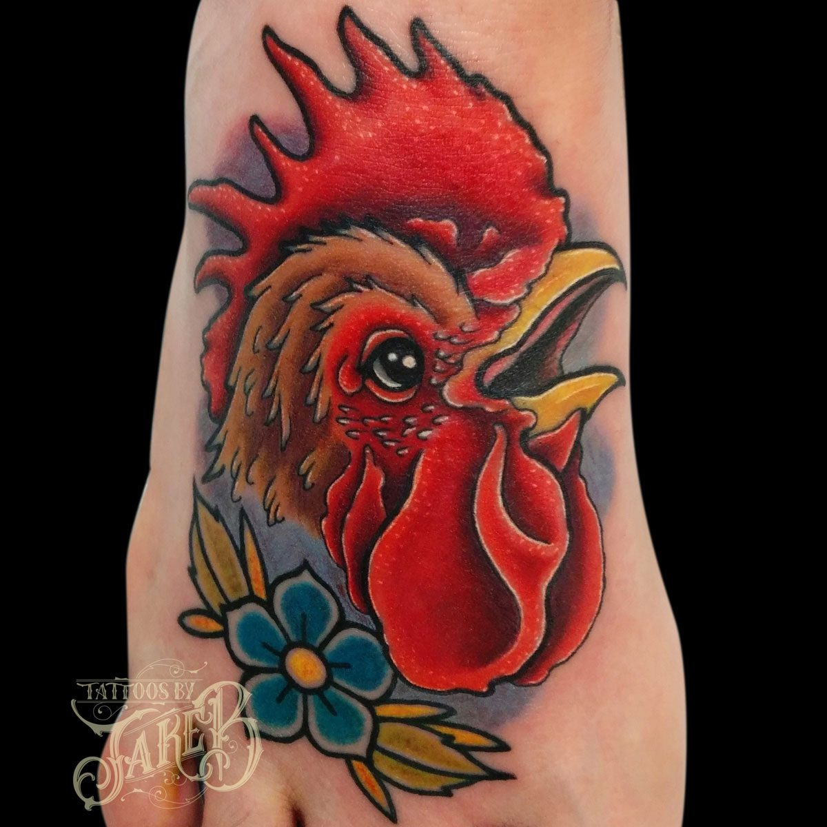 traditional rooster tattoo