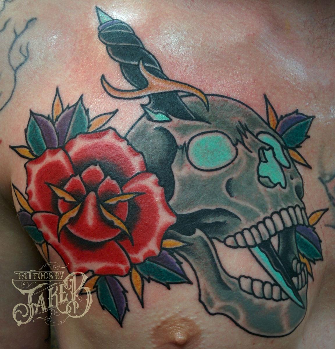 traditional skull rose dagger tattoo