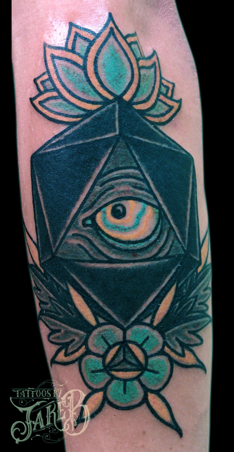 eye & d20 tattoo