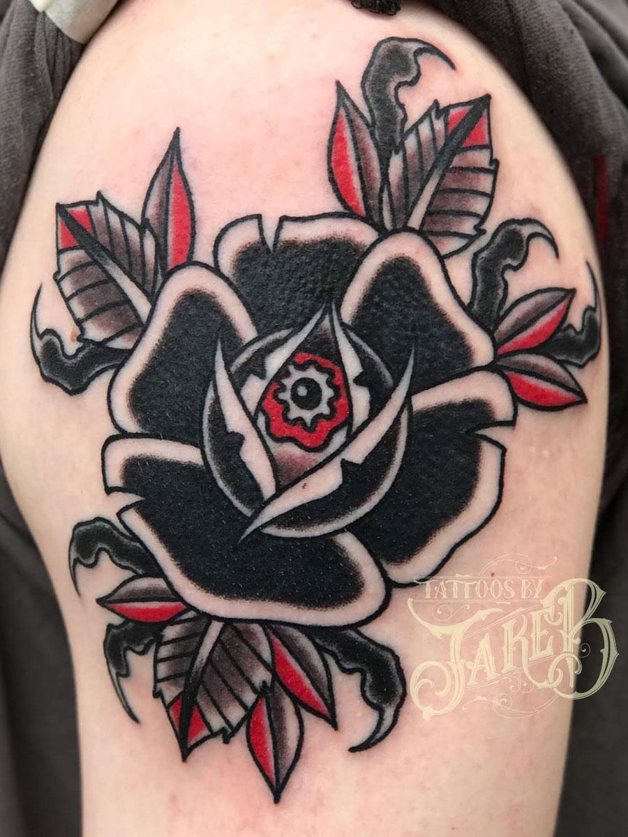 traditional eyeball rose tattoo