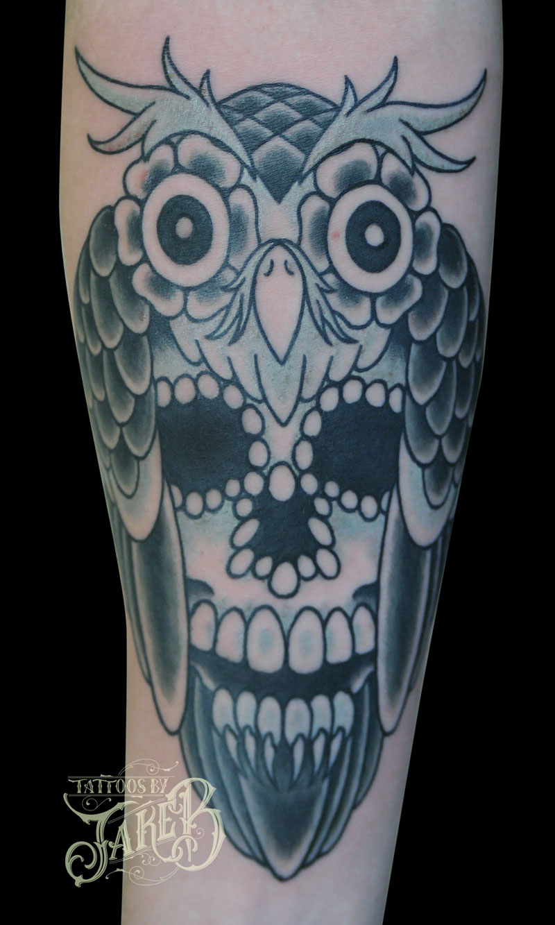 black and grey owl skull tattoo