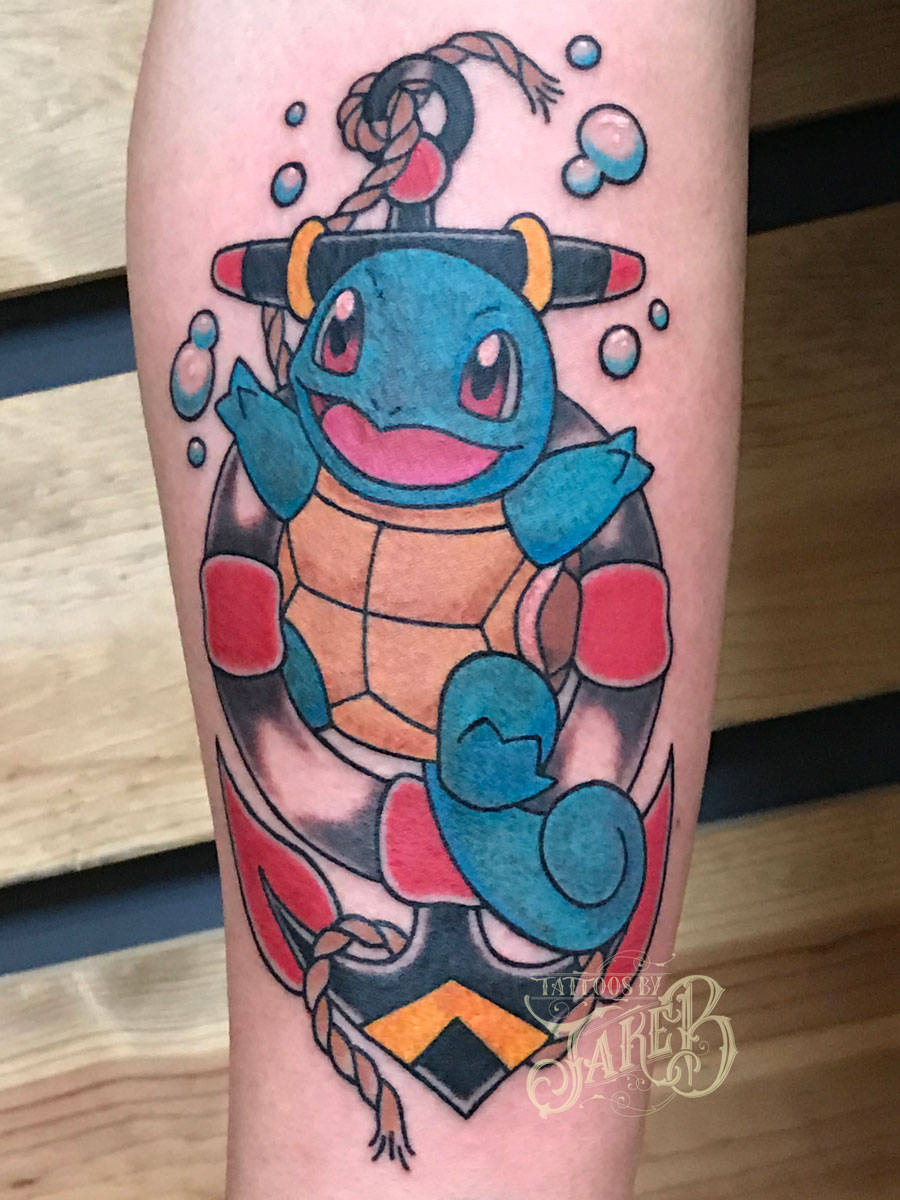 traditional anchor & squirtle tattoo