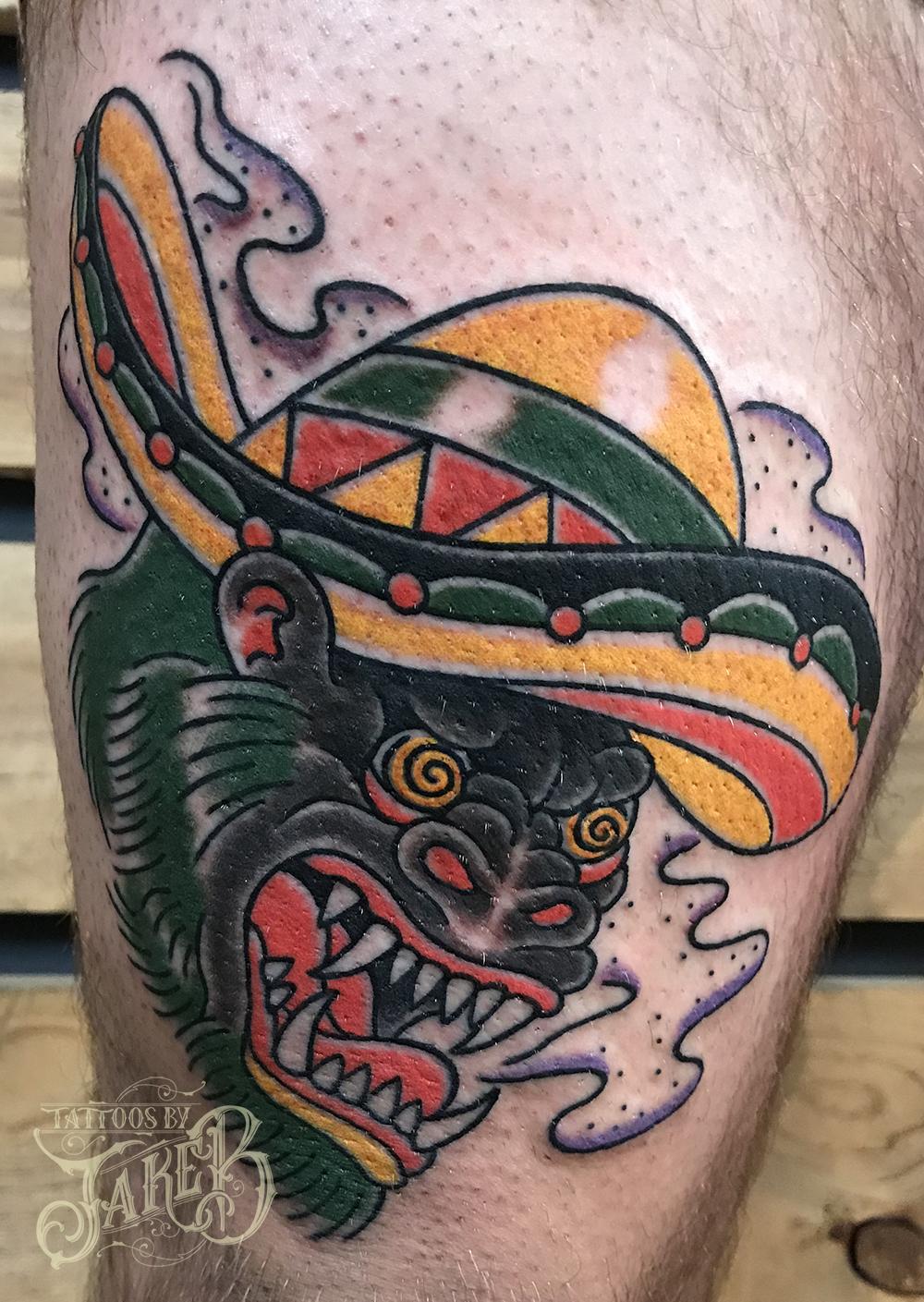 Southwest sombrero gorilla tattoo by Jake B
